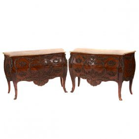 Pair Of Louis Xv Style Bronze And Faux Marble Mounted
