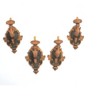 Set Of Four Baroque Style Painted And Parcel Gilt Wall