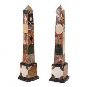 Pair Of Large Specimen Marble Obelisks