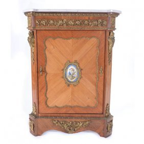 Louis Xv Style Gilt Bronze Porcelain Mounted Kingwood