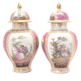Pair Of German Polychrome And Gilt Highlighted Covered