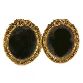 Pair Of French Louis Xvi Style Giltwood Mirrors
