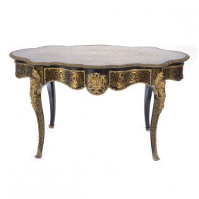French Louis Xv Style Boulle Inlaid Writing Desk
