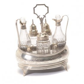 George Iii Regency English Silver And Glass Cruet Set