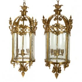 Pair Of Neoclassical Style Brass And Etched Glass Four