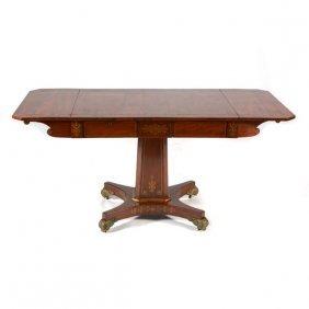 Regency Brass Inlaid Mahogany Sofa Table