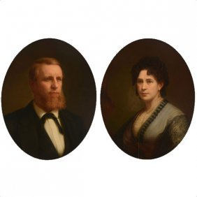 Pair Of Oval Portraits Of John And Ellen Nightingale