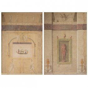 Pair Of Large Egyptian Revival Panels Depicting A