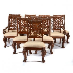 Set Of Ten Neoclassical Style Mixed Wood Dining Chairs