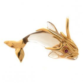 Rock Crystal Quartz, Ruby, 14k Yellow Gold Dolphin