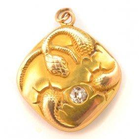 Art Nouveau Diamond, 18k Yellow Gold Snake Locket