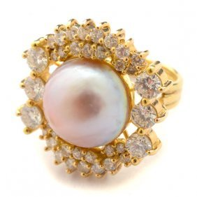 Mabe Cultured Pearl, Diamond, 18k Yellow Gold Ring.
