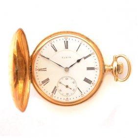Elgin 14k Yellow Gold Hunting Case Pocket Watch.