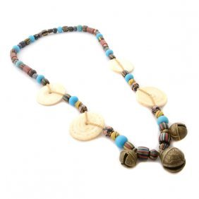 Borneo Glass Trade Bead, Shell, Brass Bell Necklace.