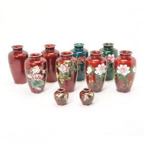 Ten Japanese Cloisonn Vases In Various Colors