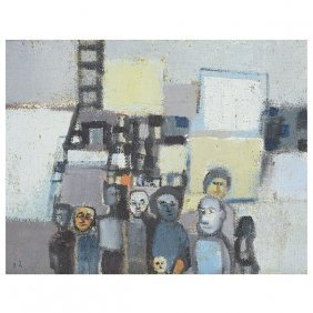"Jean Halpert-ryden ""figures"" Oil On Masonite."