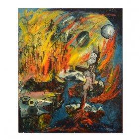 "Mario Pikus ""surreal Landscape"" Oil On Canvas."