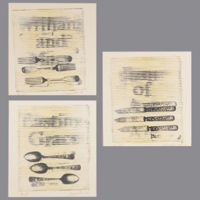 "Deborah Oropallo ""spoons, Forks And Knives"" Lithograph."