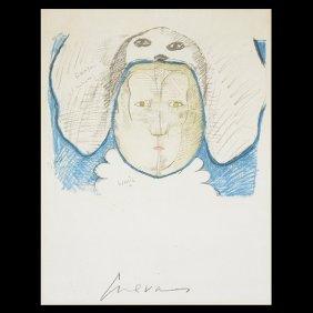 """Jose Luis Cuevas """"untitled"""" Embossed Print."""