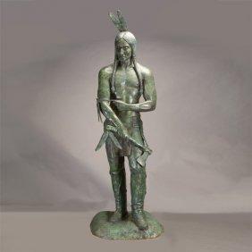 American School Large Bronze Indian