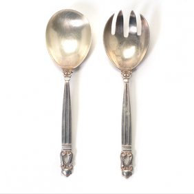Pair Of Georg Jensen Acorn Sterling Silver Salad