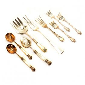 Collection Of Nine Silver Serving Utensils