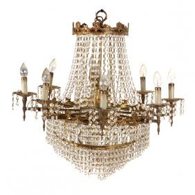 Empire Style Eight Light Chandelier Hung With Lustres