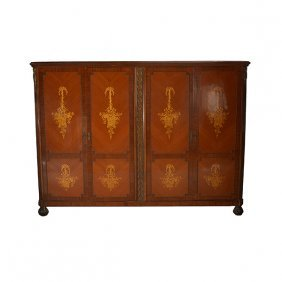 Dutch Marquetry Four Door Bronze Mounted Cabinet