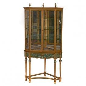 Venetian Style Painted Vitrine Corner Cabinet With