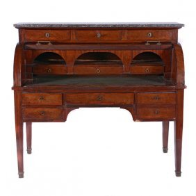 French Restoration Mahogany Roll Top Writing Desk