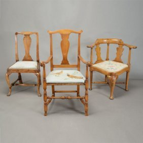 Two Chippendale Chairs And A Third Chair