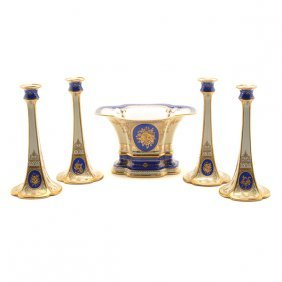 Four Continental Blue Candlesticks With Centerpiece
