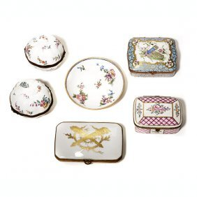 Five Porcelain Limoges Or Battersea Type Boxes