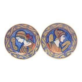 Pair Of Italian Majolica Pottery Chargers With