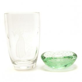 Orrefors Willy Johansson Glass Vase And A Daum Ashtray