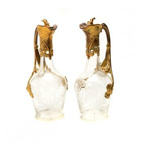 Pair Of Art Nouveau Gilt Metal Mounted Engraved Glass