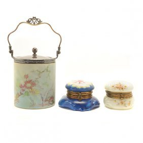Wavecrest Glass Biscuit Jar And Two Dresser Jars