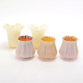 Five Quezal Iridescent Ivory Glass Shades