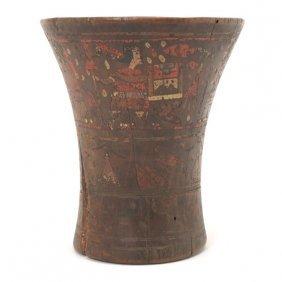 Pre-columbian Polychrome Carved Wood Kero