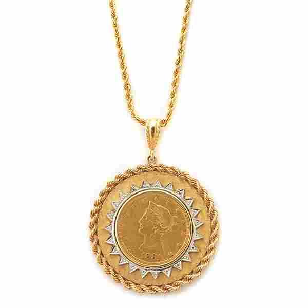 Lady Liberty Gold Coin, Diamond, 14k Yellow Gold