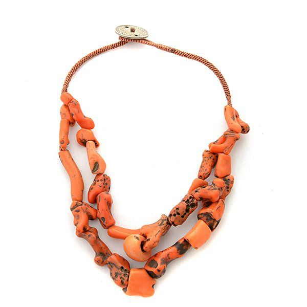 *Moroccan Branch Coral, Coin Necklace.