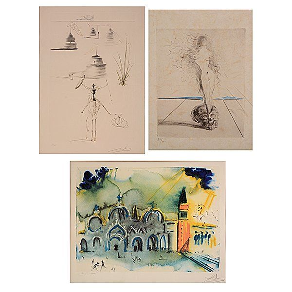 "Three SALVADOR DALI Works ""Hommage to Venice"" Framed."