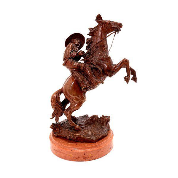 """CARL KAUBA """"Bucking Bronco"""" Bronze Scultpure."""