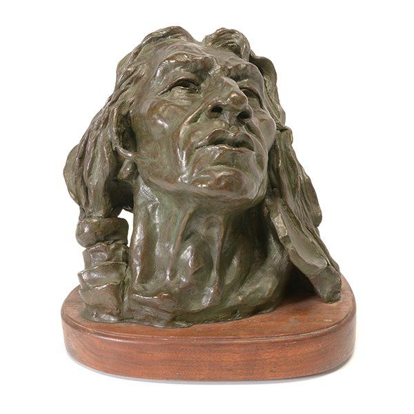 "JORGE TARALLO ""Indian Head"" Bronze on Wood Base."