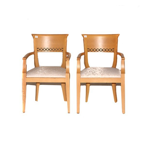 """Two Spanish Arm Chairs with Natural Finish H331/2"""" x"""