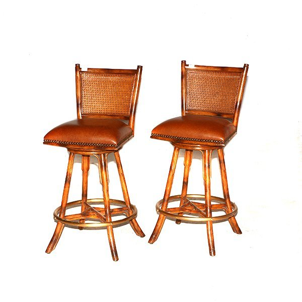"""Two Leather Seat Cane back Barstools H45"""" x W20"""" x D21"""""""