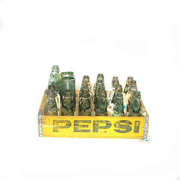 Old Pepsi Crate and Twenty four Soda Pop Jars Over All
