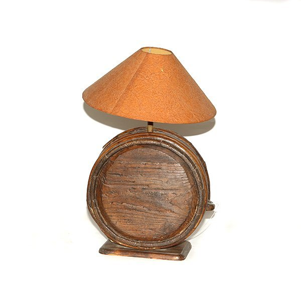 """Butter churn Motif Table Lamp with Brown Shade H 28"""" x"""