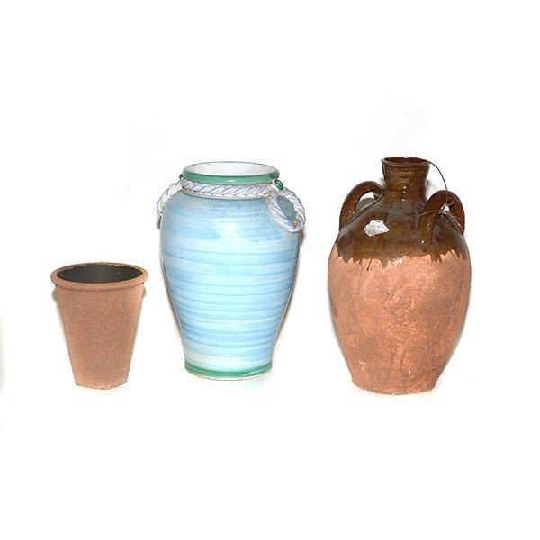 Blue Italian Vase, Brown Olive Jar, Small Brown Pot