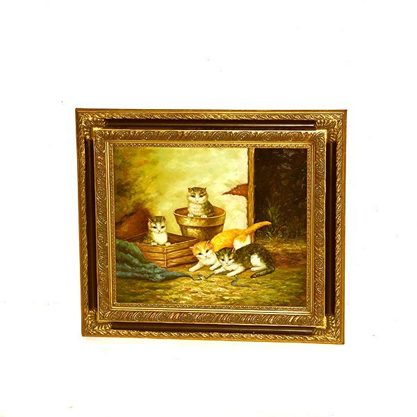 """Cat Painting Oil on Board with Frame H 28 1/2"""" x 32"""